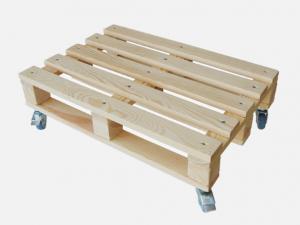 Transporthilfe, Rollwagen als kleine EUR-Palette mit 4 Lenkrollen, Größe: ca. 40 x 60 cm