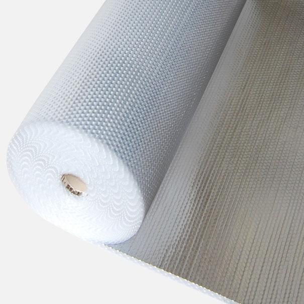 Alu beschichtete Luftpolsterfolie, leichte Noppenfolie - Meterware: Zuschnitt 1,50 m breit