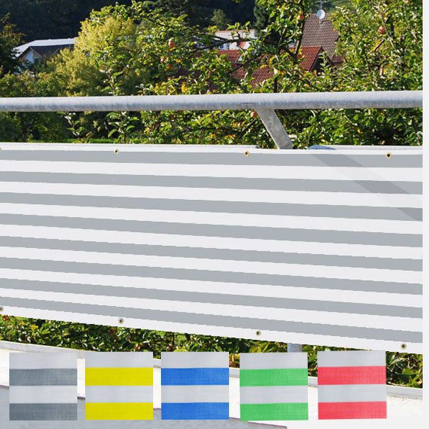 Balkonverkleidung, Balkonumspannung, Sichtschutz, Windschutz, Planen Größe: 0,70 x 4 m, ca. 270g/qm[04 1006 BK 12 0,7 4]