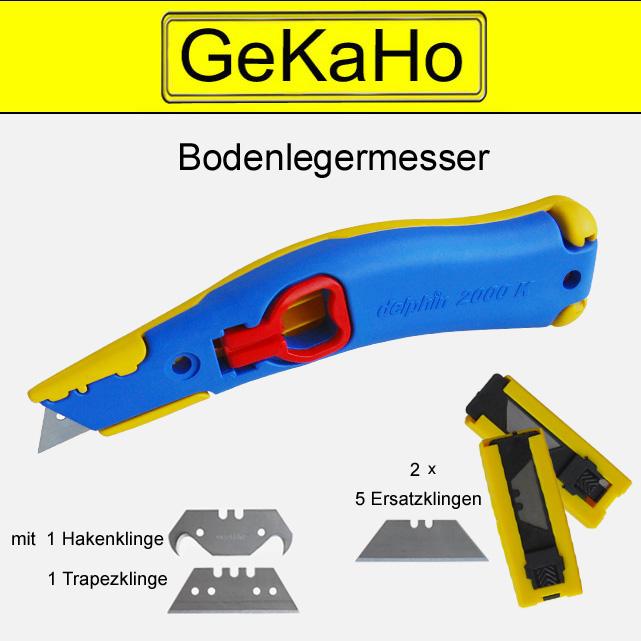 Cuttermesser Set  Delphin  2000 K, Bodenverleger Messer für Teppichleger, Teppichmesser + 12 Klingen[11 1012 SET]