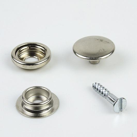 Druckknopf, für Verbindung Stoff-Anschraubverbindung, vernickelt, 15 mm Durchmesser