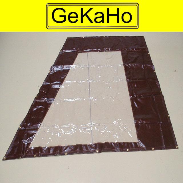 PVC Zeltplane, Festzeltplane, Sonderform mit Fenster ca. 600g/qm - Farbe: braun+klar Größe: ca. 2,62 m x 2,95 m (2. Wahl)