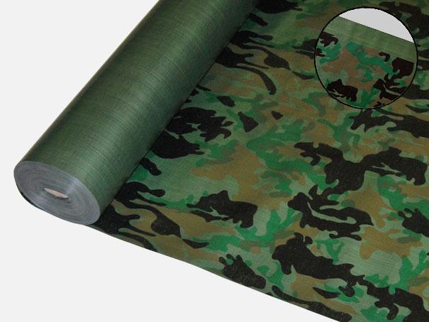 """Bändchengewebe aus PE, ca. 200g/m² Farbe: 1 Seite Militär """"Camouflage"""", andere Seite oliv - Meterware: Zuschnitt 2,00 m breit"""