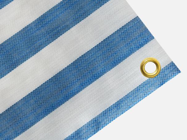 Gewebeplane, PE-Abdeckplane ca. 270g/m² , Farbe: blau-weiß gestreift - Größe: 1,90 x 8,50 m (2. Wahl)