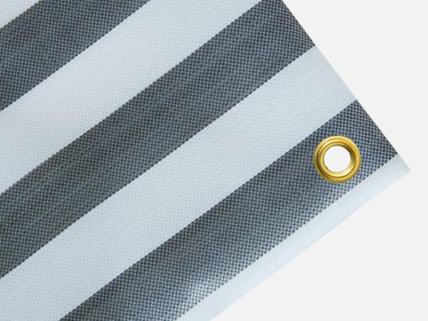 Gewebeplane, Abdeckplane ca. 270g/m² , Farbe: grau-weiß gestreift - Größe: 1,90 x 6,20 m (2. Wahl)
