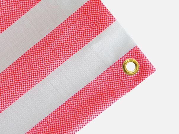 Gewebeplane, Abdeckplane ca. 270g/m² , Farbe: rot-weiß gestreift - Größe: 0,80 x 1,00 m (2. Wahl)