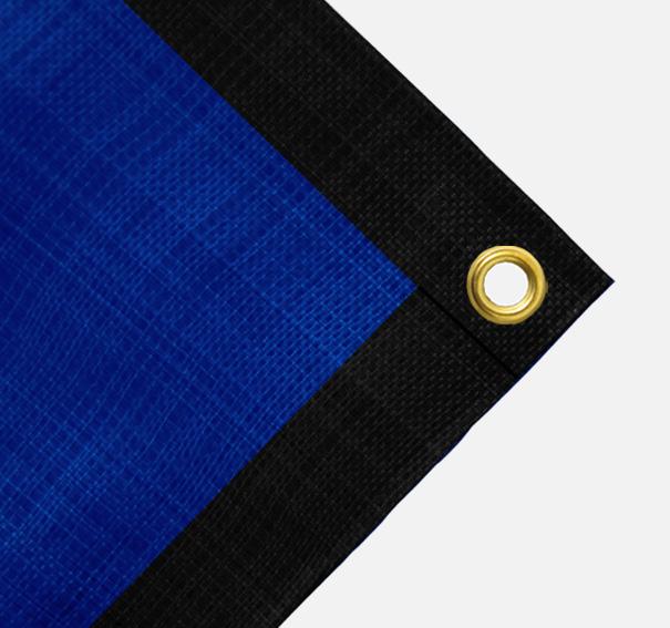 Gewebeplane, ca. 200g/qm, Farbe: Oben blau / Unten schwarz, Größe: 1,90 x 3,90 m (2. Wahl)