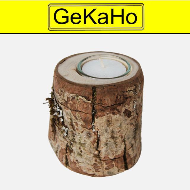 Teelicht   Mit Rinde aus Nussbaumholz ca. 10 x 7 cm[20 1001 10]