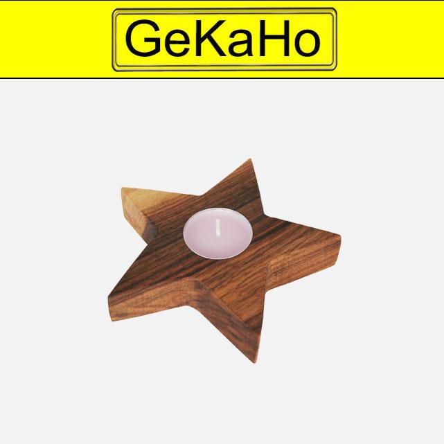 Stern aus Nussbaumholz, ca. 13 x 3 cm, Holzstern mit einem Teelicht