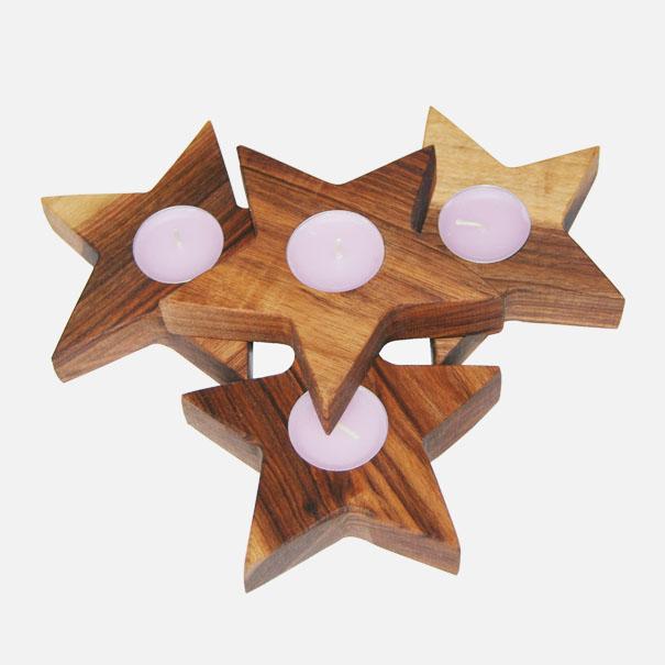 stern aus nussbaumholz ca 13 x 3 cm holzstern mit einem teelicht gekaho. Black Bedroom Furniture Sets. Home Design Ideas