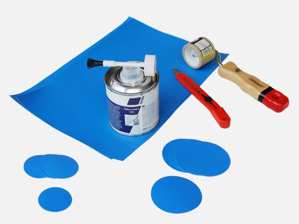 Reparatur Set für LKW + PVC Planen, auch unterwasser für Poolfolie, Teichfolie usw. geeignet[06 1300 SET]