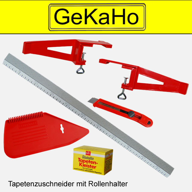 7 tlg. Tapetenzuschneide Set: Tapetenzuschneider, Messer, Spachtel, 2 x Kleister[99 0020 LE]