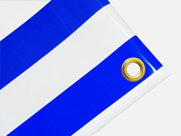 PVC Zeltplane, Festzeltplane, Markise ca. 800g/qm  - Farbe: blau-weiss gestreift,  Größe: 0,60 m x 9,00 m (2. Wahl)
