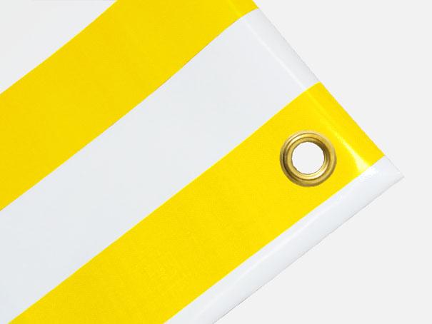 PVC Zeltplane, Festzeltplane, Markise ca. 800g/qm  - Farbe: gelb-weiss gestreift,  Größe: 0,80 m x 1,50 m (2. Wahl)