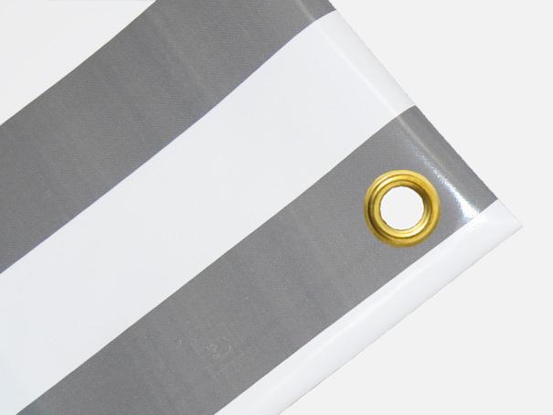 PVC Zeltplane, Festzeltplane, Markise ca. 800g/qm - Farbe: grau-weiss gestreift, Größe: 1,60 m x 1,70 m (2. Wahl)
