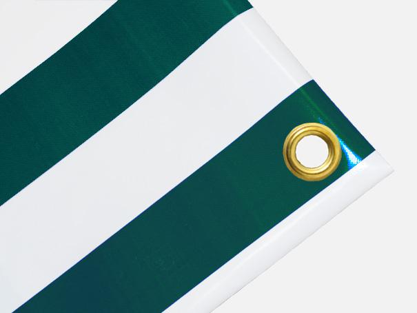PVC Zeltplane, Festzeltplane, Markise ca. 800g/qm  - Farbe: grün-weiss gestreift,  Größe: 1,10 m x 1,90 m (2. Wahl)
