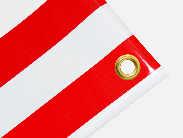 PVC Zeltplane, Festzeltplane, Markise ca. 800g/qm  - Farbe: rot-weiss gestreift,  Größe: 0,85 m x 1,60 m (2. Wahl)