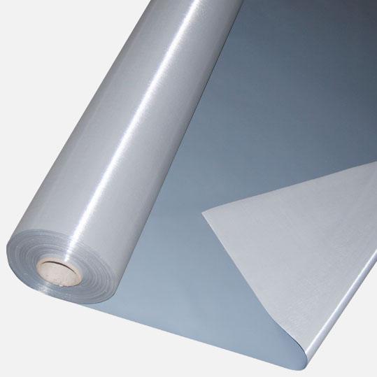 Abdeckplane PVC ca. 600g/m² Meterware - grau/weiß 2,00 m breit (2. Wahl Ware)