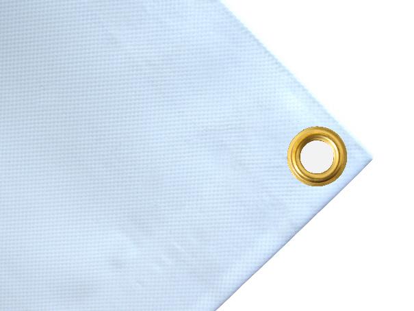 Abdeckplane, PVC, 600g/qm - Farbe: weiss - Dreieck Seitenlängen ca: 5,52 m x 8,75 m / 8,75 m (2. Wahl)