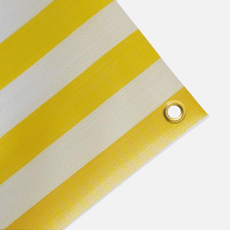 Gewebeplane, Abdeckplane ca. 270g/m² , Farbe: gelb-weiß gestreift - Größe: 0,65 x 0,90 m (2. Wahl)