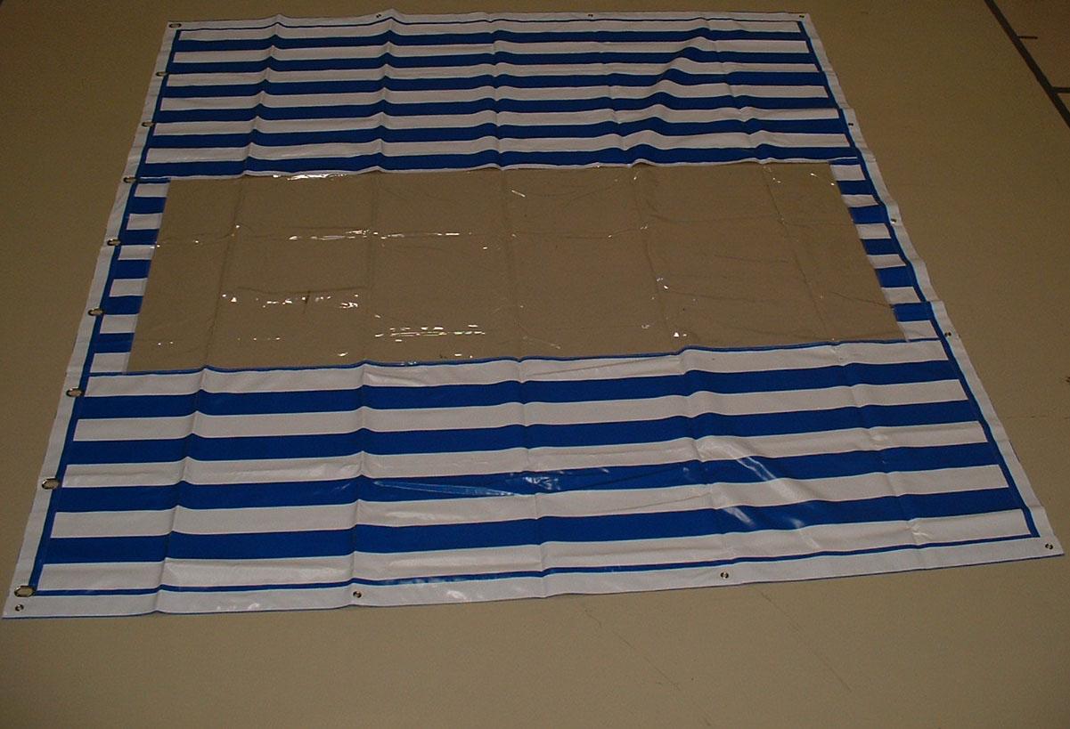 PVC Zeltplane, Festzeltplane, mit Fenster ca. 800g/qm - Farbe: blau-weiss gestreift, Größe: 3,10 m x 3,40 m (2. Wahl)