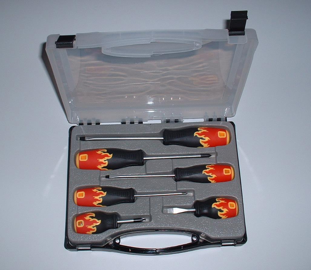 """Schraubendreher-Set im Koffer, 7-tlg. Motiv \""""Feuer\"""""""