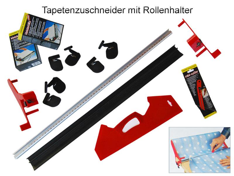7-tlg. Tapetenzuschneide-Set: Tapetenzuschneider, Messer, Spachtel, 2 x Kleister