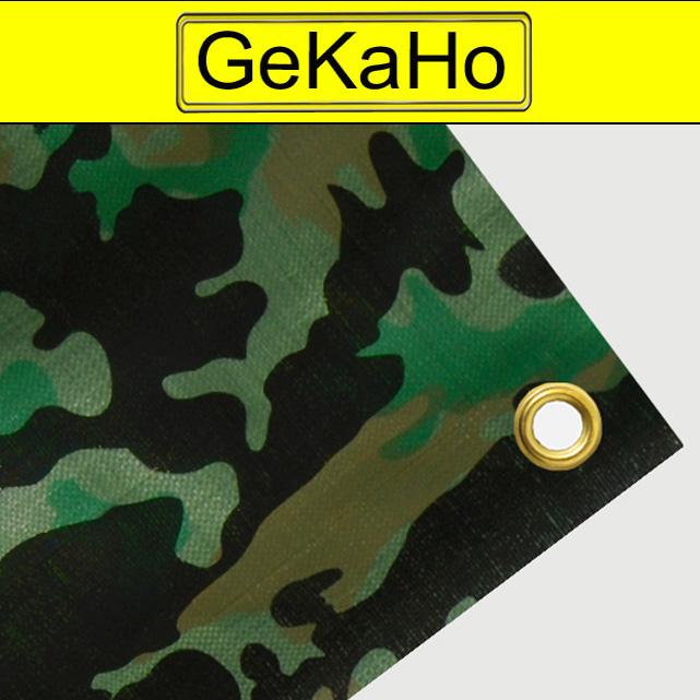 Tarnplane mit Ösen: Gewebeplane, Abdeckplane, Schutzplane Farbe: Oberseite Militär  Camouflage  Unterseite oliv. Größe: 4 x 4 m, ca. 200g/qm[04 1010 16 4 4 CAM]