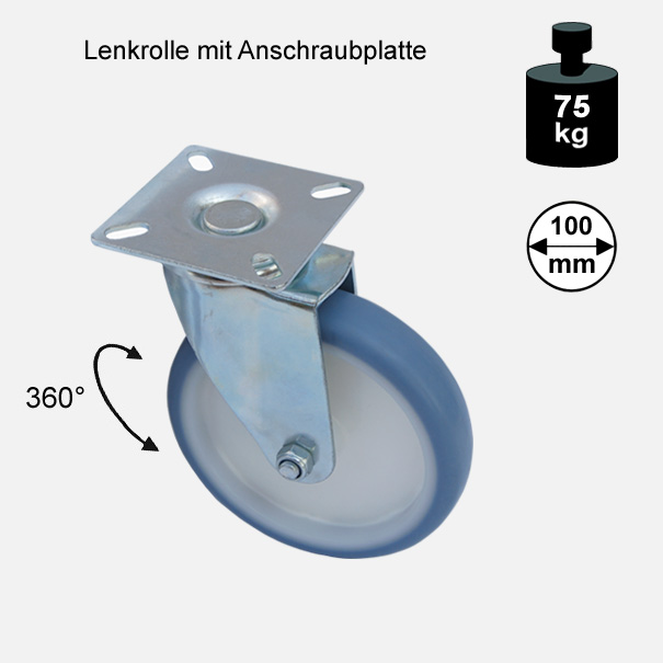 "Möbelrolle, Rad, Transportrolle, Softrolle ""Soft-Lenkrolle"" 100 mm"