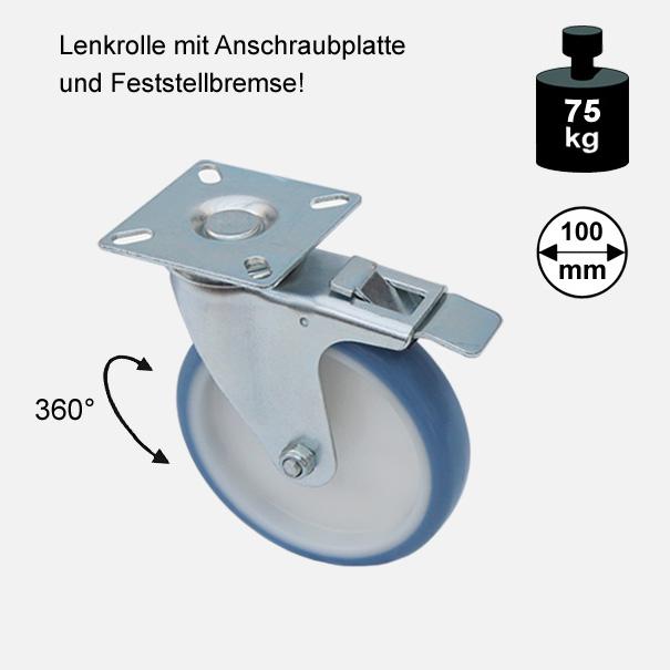 Möbelrolle, Rad, Transportrolle, Softrolle  Soft Lenkrolle mit Feststellbremse  100 mm[13 14 100 LEFB 3700 01]