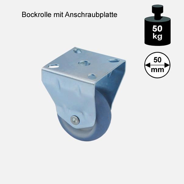 Möbelrolle, Rad, Transportrolle, Softrolle  Soft Bockrolle  50 mm[13 06 50 BO 7550 01]
