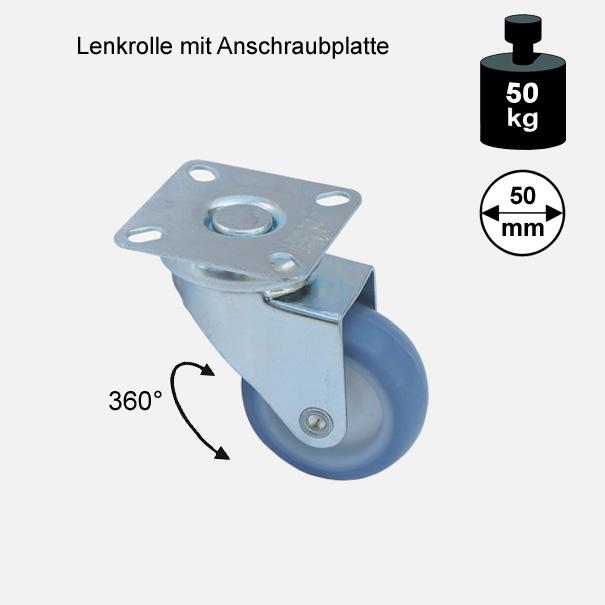 "Möbelrolle, Rad, Transportrolle, Softrolle ""Soft-Lenkrolle"" 50 mm"