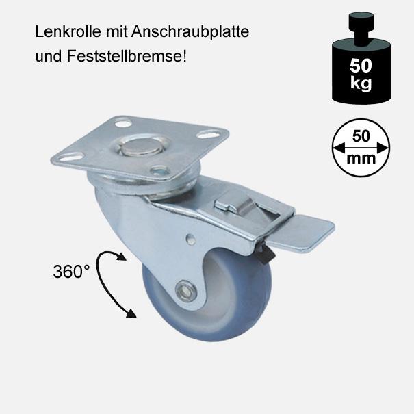 """Möbelrolle, Rad, Transportrolle, Softrolle """"Soft-Lenkrolle mit Feststellbremse"""" 50 mm"""