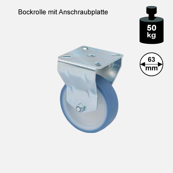 Möbelrolle, Rad, Transportrolle, Softrolle  Soft Bockrolle  63 mm[13 07 63 BO 7760 01]