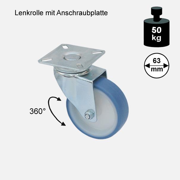 Möbelrolle, Rad, Transportrolle, Softrolle  Soft Lenkrolle  63 mm[13 02 63 LE 1760 01]