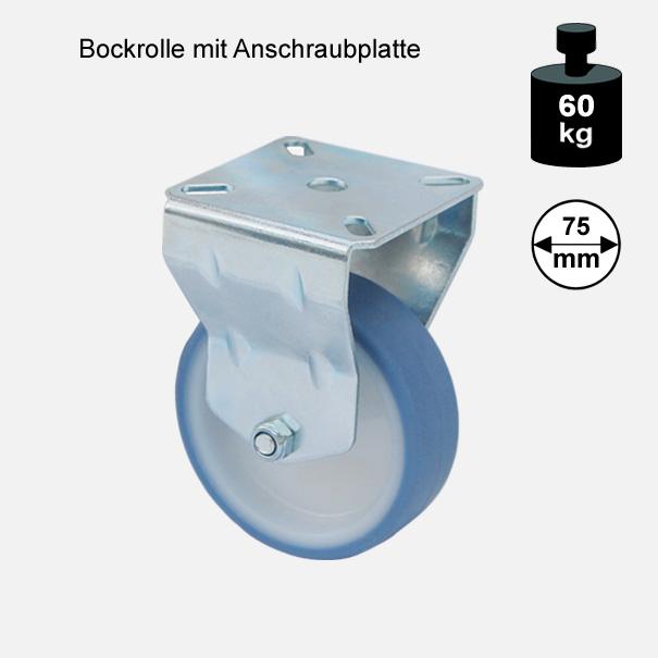 """Möbelrolle, Rad, Transportrolle, Softrolle """"Soft-Bockrolle"""" 75 mm"""