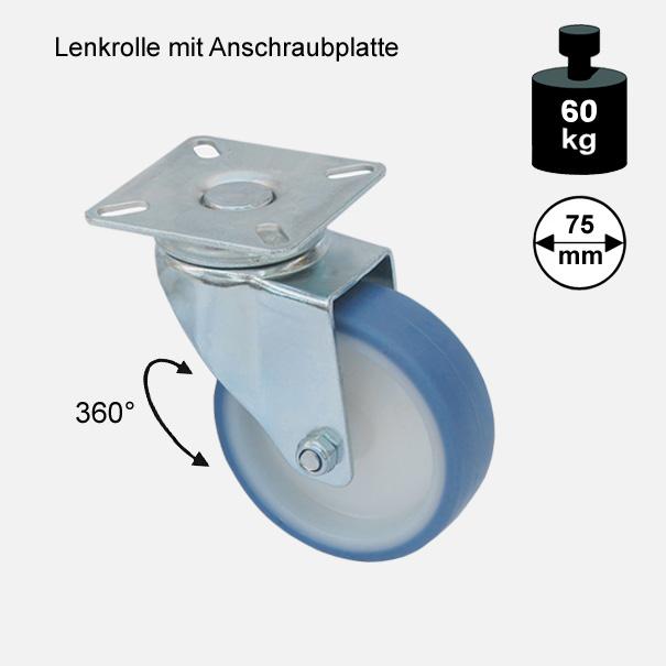 "Möbelrolle, Rad, Transportrolle, Softrolle ""Soft-Lenkrolle"" 75 mm"