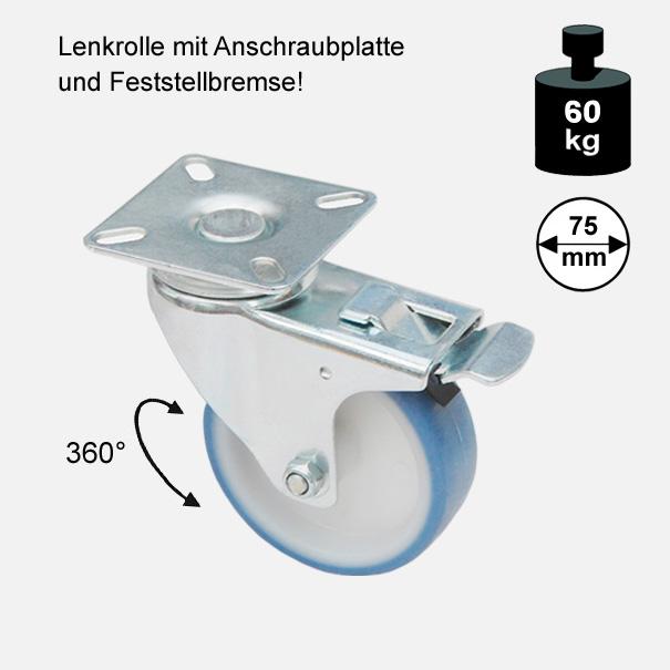 Möbelrolle, Rad, Transportrolle, Softrolle  Soft Lenkrolle mit Feststellbremse  75 mm[13 13 75 LEFB 3775 01]