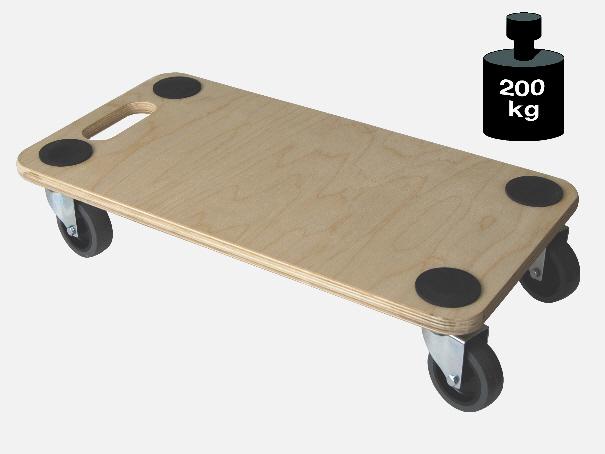 Multimobil: Transporthilfe, Möbelhund, Rollwagen,  Multiplex  Größe: ca. 30 x 57 cm   Mit Bremse[14 1128 BS]