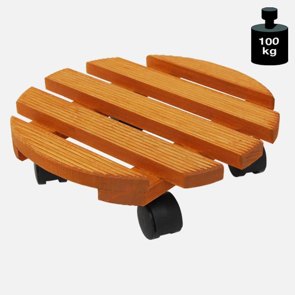 Multi Roller: Transporthilfe, Pflanzenroller, Blumenwagen,  Nussbaum  rund, Durchmesser: ca. 30 cm[14 0182 01]